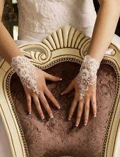 Neu Hochwertig Brauthandschuhe Spitze Perlen Pailletten  weiß, ivory/ creme