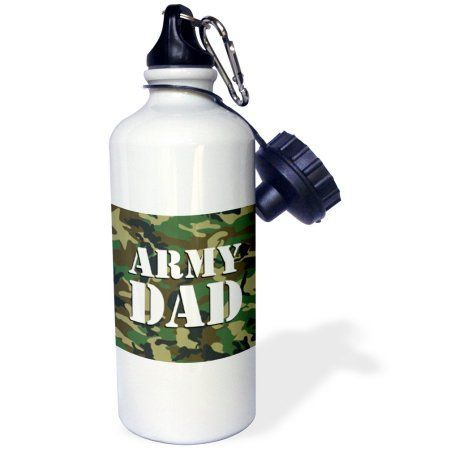3dRose Army Dad Green Camouflage , Sports Water Bottle, 21oz