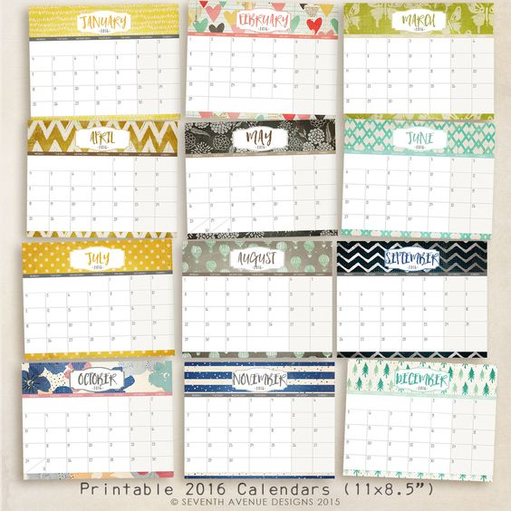 FREE Printable 2016 Calendars   Free Printables   Pinterest   2016 ...