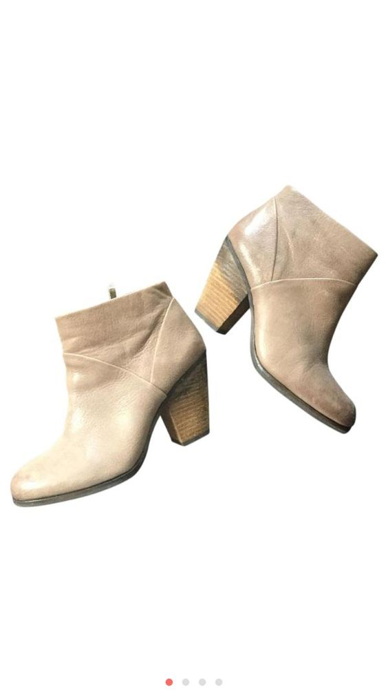 Vince Camuto tan leather wooden heel booties on sale now!