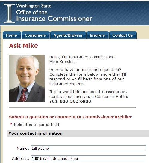 Washington State Office Ofthe Insurance Commissioner