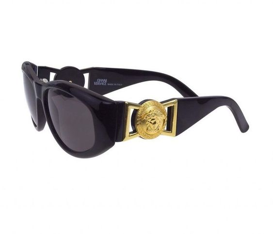 Versace Men's Used Sunglasses (Vintage, Gold Medusa Head) - Sale! Up to 75% OFF! Shot at Stylizio for women's and men's designer handbags, luxury sunglasses, watches, jewelry, purses, wallets, clothes, underwear & more!