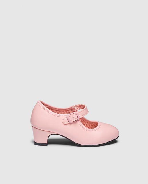 Zapatos de flamenca de niña Olé Tus Zapatos de color fucsia