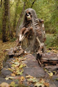 Corpsed Skeleton w/Lady Godiva hair #Halloween props yard decor creepy