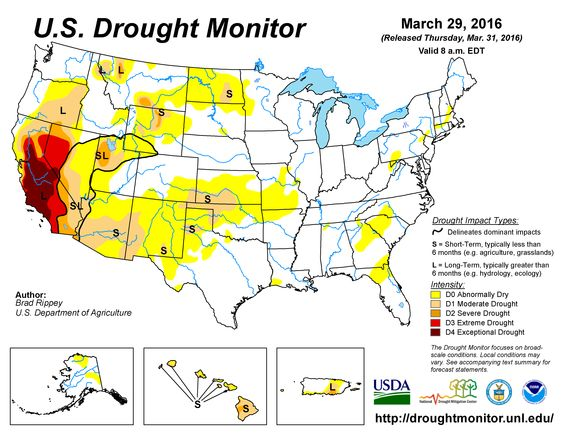 Weekly monitor U.S. Drought Monitor Current Drought Conditions Plot NOAA
