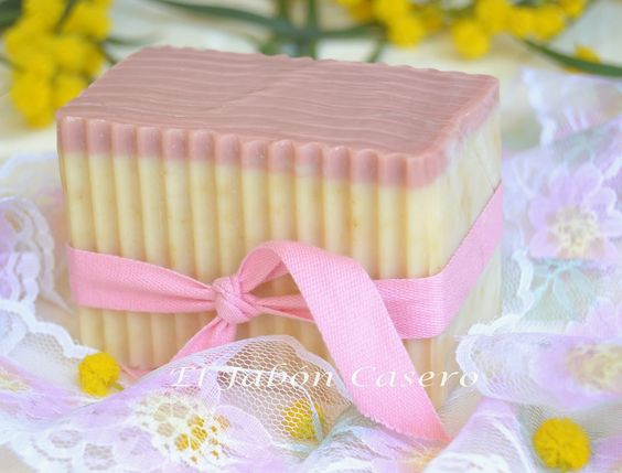 Pink layered soap