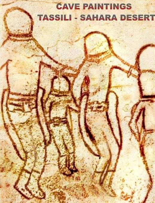 8000 BC mysterious cave paintings found in Tassili N'Ajjer, Sahara Desert depict ancient Astronauts with helmets, gloves, boots, women taken into UFO, flying disk: