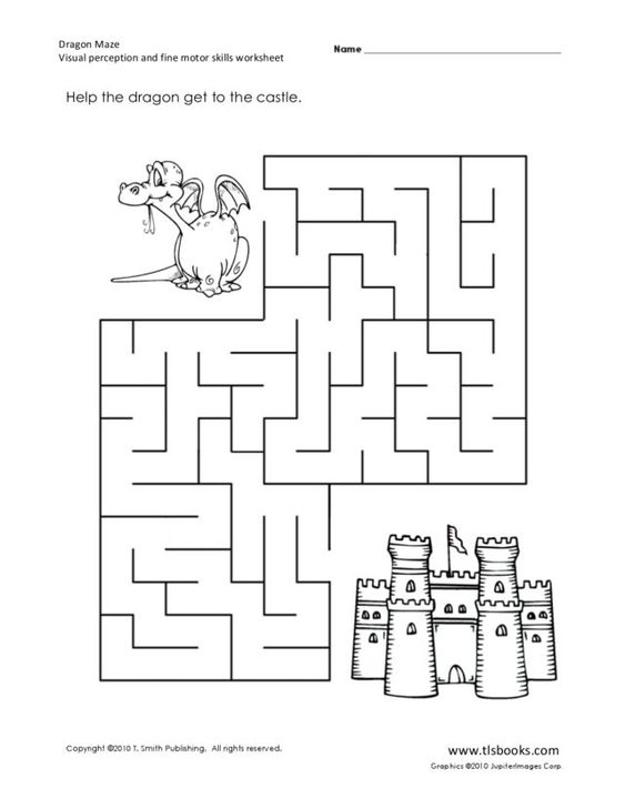 Printables Fine Motor Skills Worksheets dragon maze visual perception and fine motor skills worksheet lesson planet