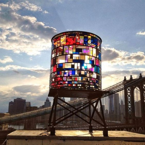 Stained glass water tower