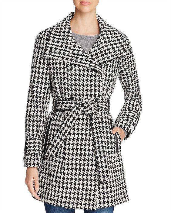 Calvin Klein Belted Houndstooth Coat
