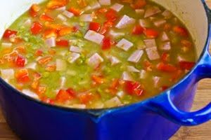 ... Split Pea Soup with Ham, Bay Leaves, Epazote and Red Bell Pepper (or