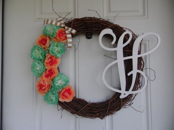 Teal and Pink Flowered Grapevine Wreath  ONLY by WreathsbyKelsey