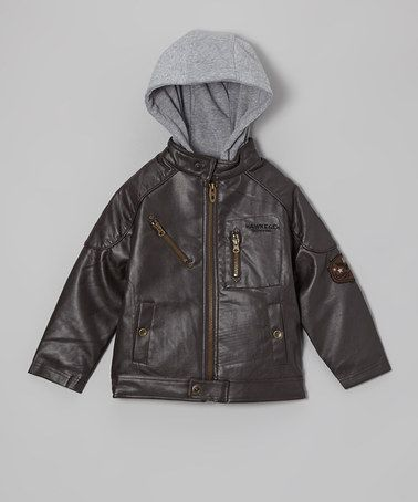 Hawke &amp Co. Brown Faux Leather Hooded Bomber Jacket - Boys