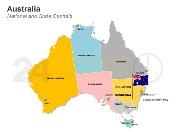 Australia Map National and State Capitals – Map of the States of Australia