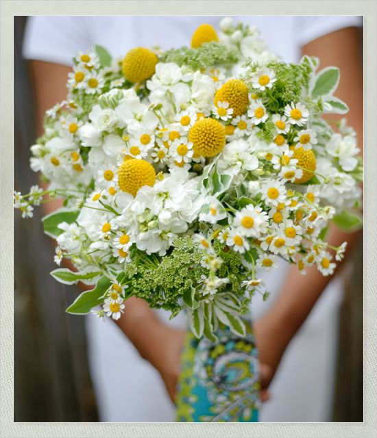 """like the sage and yellow tufts, and """"wild"""" shape, but the chamomile/ feverfew and white looks too gentle and spring-y. Want mine to look a bit more summer-y, Hacienda-style"""