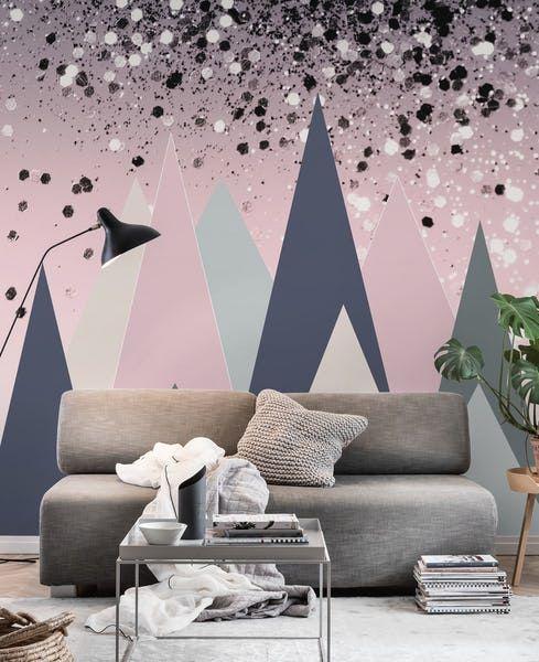 Geometric Mountains Glitter 1 Wallpaper In 2020 Wall Murals Geometric Mountain Mural