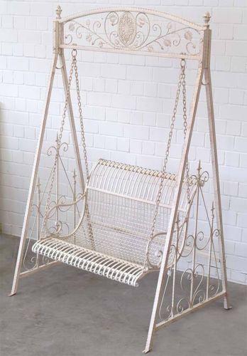 balancelle style victorien banc de jardin en fer forge blanc patine antique meubles de jardin. Black Bedroom Furniture Sets. Home Design Ideas