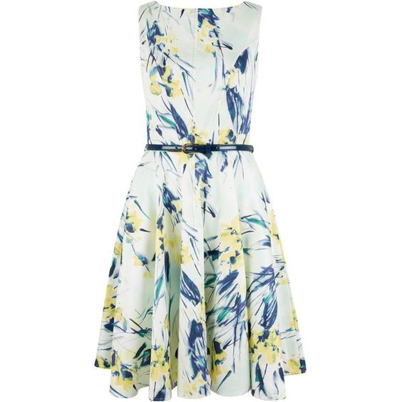 Closet Floral Flared Belted Dress, Multi (€69) ❤ liked on Polyvore featuring dresses, cotton maxi dress, white skater dress, flared skirt, white cotton dress and floral print maxi dress