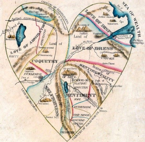 The map of woman's heart.  ♥♥♥♥ ❤ ❥❤ ❥❤ ❥♥♥♥♥