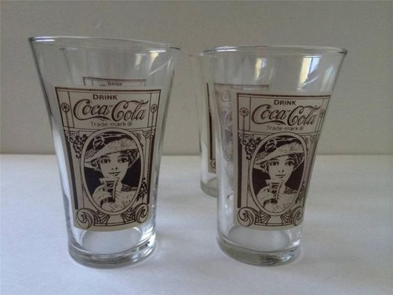 Vintage Design Coke Coca-Cola Pub Flair Style Glasses Set of 4 Clear W/ Brown