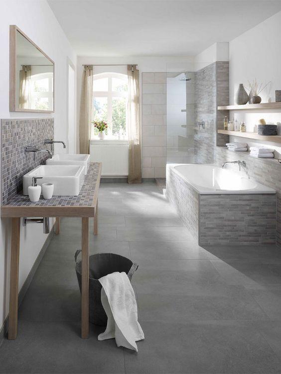 plan de travail de salle de bain en mosaique salle de