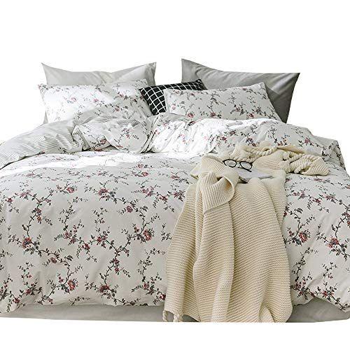 Mkxi Flower Duvet Cover Set Floral Romantic Rose Printed White Bedding Sets Soft Lightweight Cotton 1 Duve Bedding Sets Duvet Cover Sets Grey And White Bedding