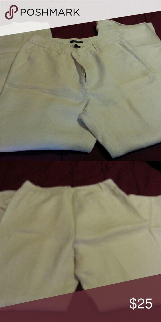Ralph Lauren Pants Size 14 tall RL lined light linen off white dress pant Ralph Lauren Pants Straight Leg