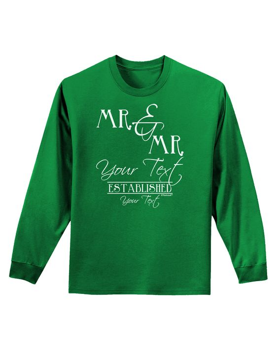 TooLoud Personalized Mr and Mr -Name- Established -Date- Design Adult Long Sleeve Dark T-Shirt