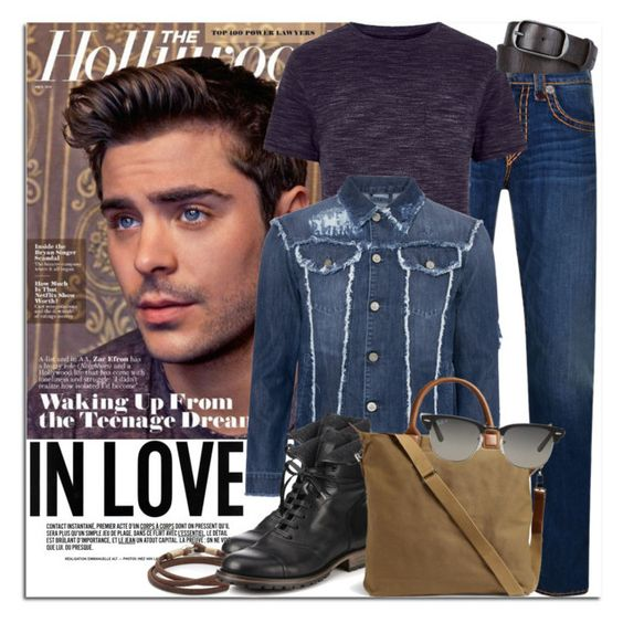 """Man Crush: Zac Efron"" by coraline-marie ❤ liked on Polyvore featuring True Religion, River Island, Dsquared2, Belstaff, Caputo & Co., Want Les Essentiels de la Vie, Ray-Ban, men's fashion and menswear"