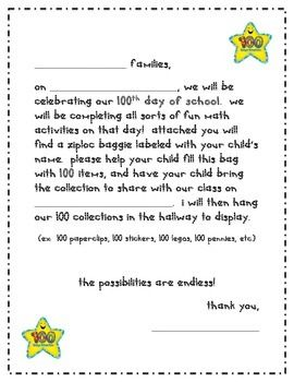 100th day of school home project letter
