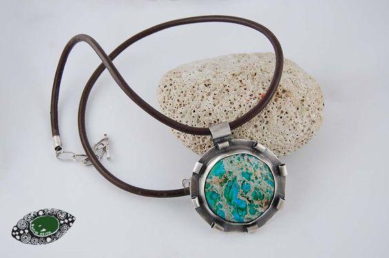 #necklace #pendant silver, jasper, leather cord