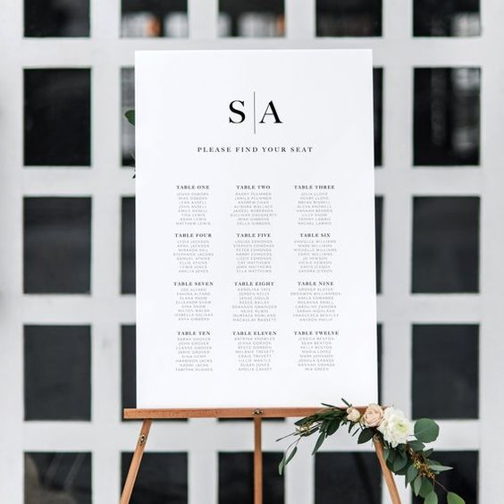 The Sophia seating chart is an editable template, meaning you dont have to wait for proofs. You can complete and re-edit it whenever needed, and print as many copies as you like. The Sophia range is chic and minimalist. With its clean design and modern look, it will compliment just