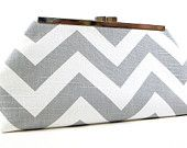 Chevron Clutch Purse Grey White