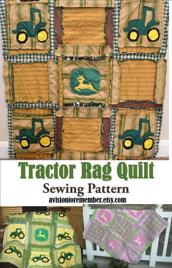 Tractor Sewing Pattern : Rag quilt pattern baby blanket with tractors sewing