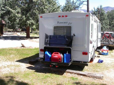 Gear Deck Mounted To Back Of Travel Trailer Rv