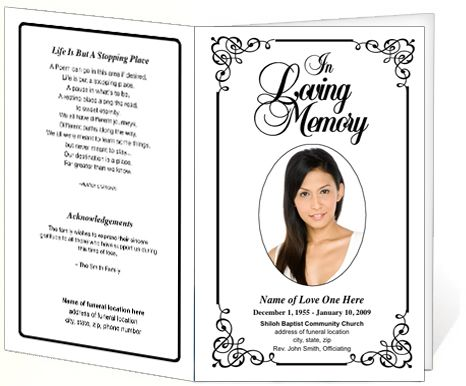 Elegant memorial funeral bulletins simple download for Funeral brochure templates free