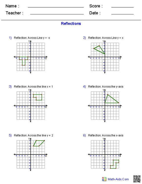 Printables Reflections Worksheet Geometry reflections worksheets math aids com pinterest geometry