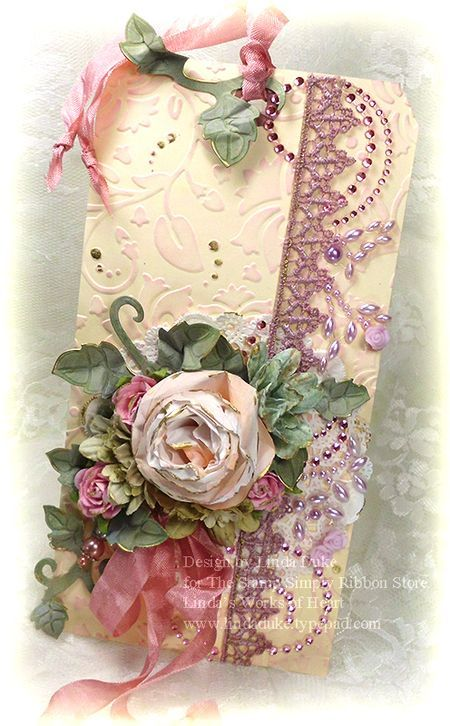 Linda's works of Heart: Spellbinders, Prima and The Stamp Simply Ribbon Store.
