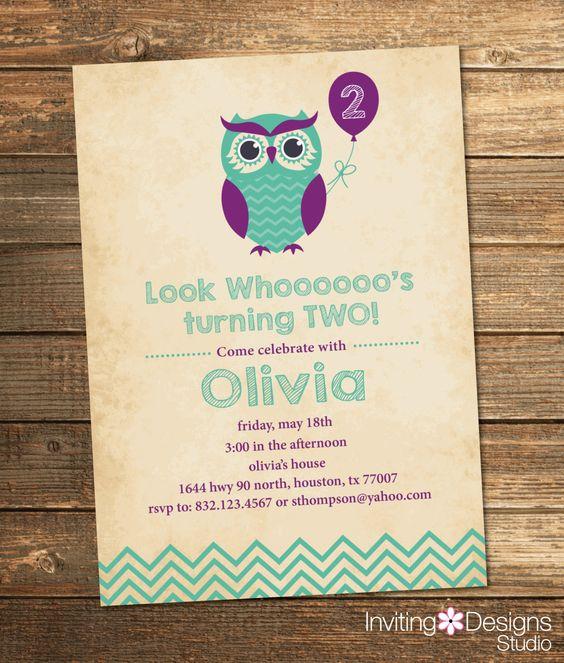 Owl Birthday Invitation, Second Birthday, First, Birthday Party, Chevron, Purple, Mint, Mint Green, Aqua, Printable File by InvitingDesignStudio on Etsy
