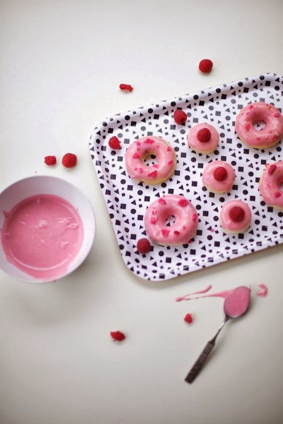 Poppytalk: Raspberry Glazed Donuts with Candied Rose Petals