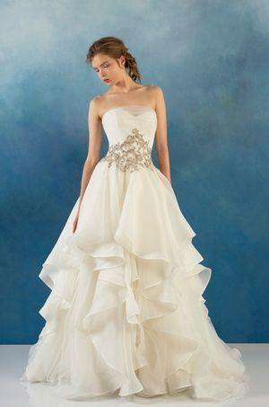 Strapless Princess/Ball Gown Wedding Dress  with Natural Waist in Organza. Bridal Gown Style Number:33236779