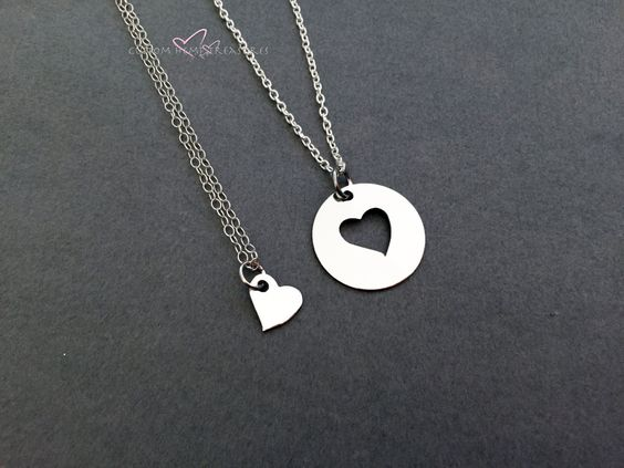 Mom Necklace, Heart Necklaces, Open Heart Necklace, Mothers Day Gift,Mother Daughter Gift, Mother Daughter Necklaces, Gift for her