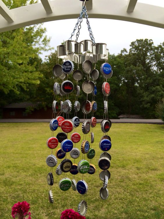 Bottle cap wind chime bottle the o 39 jays and bottle caps for Bottle cap wind chime