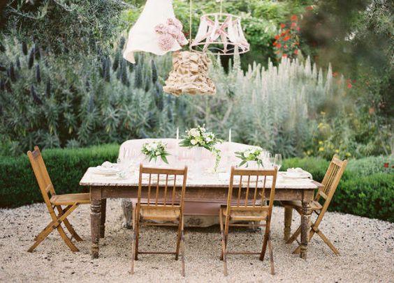 Outdoor blush wedding decor.