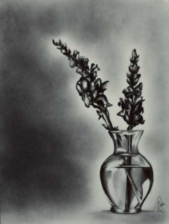 Pencil Drawing Realistic Flowers Vase Drawing