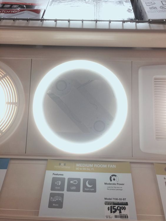 Home depot home netwerks decorative white 90 cfm 1 5 - Bluetooth speaker bathroom light ...