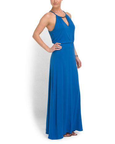 image of Metallic Accent Maxi Dress