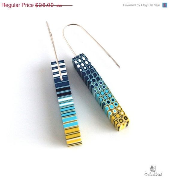 SALE 20% Geometric earrings Dangle earrings Modern by SolarBird
