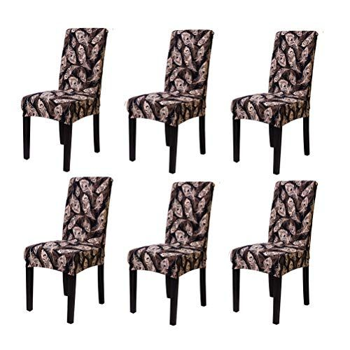 Subcluster 6 Pcs Set Soft Stretchable Dining Chair Covers With Printed Floral Patterns Spandex Banquet Chair Seat Dining Chairs Dining Chair Covers Dining Chair Slipcovers