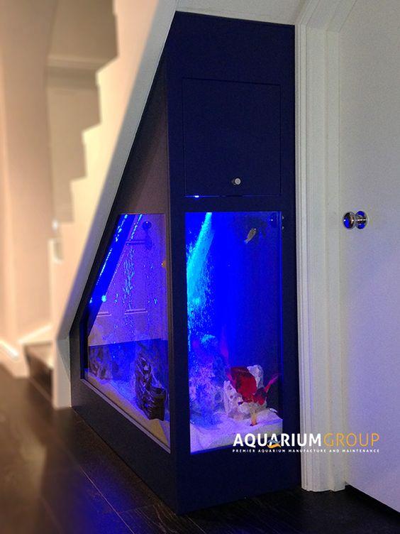 Custom built under stairs aquarium fishtank fish tanks for Aquarium cocktail table